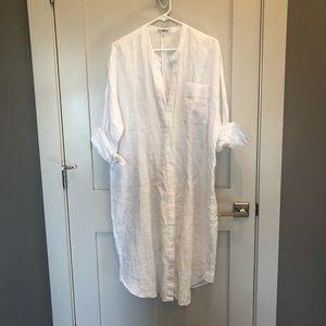 James Perse white linen dress beach cover